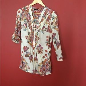 Flowered tunic blouse